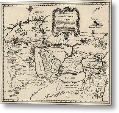 Antique Map Of The Great Lakes By Jacques Nicolas Bellin - 1755 Metal Print