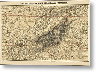 Antique Map Of The Great Smoky Mountains - North Carolina And Tennessee - By W. L. Nickolson - 1864 Metal Print by Blue Monocle