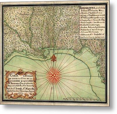 Antique Map Of The Gulf Coast By Alexandre De Batz - 1747 Metal Print