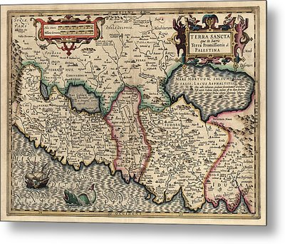 Antique Map Of The Holy Land By Guillaume Delisle - 1782 Metal Print by Blue Monocle