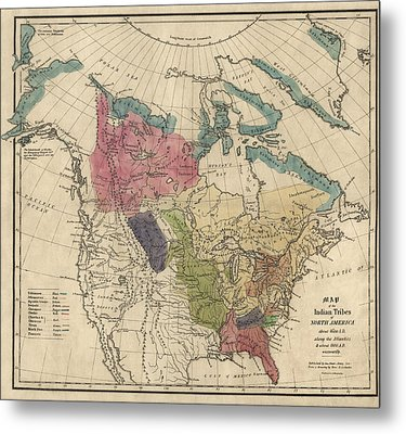 Antique Map Of The Indian Tribes Of North America By Albert Gallatin - 1836 Metal Print by Blue Monocle