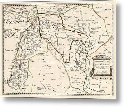 Antique Map Of The Middle East By Philippe De La Rue - 1651 Metal Print by Blue Monocle