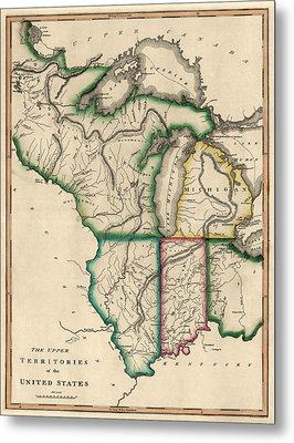Antique Map Of The Midwest Us By Kneass And Delleker - Circa 1810 Metal Print by Blue Monocle