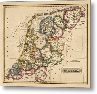 Antique Map Of The Netherlands By Fielding Lucas - Circa 1817 Metal Print by Blue Monocle