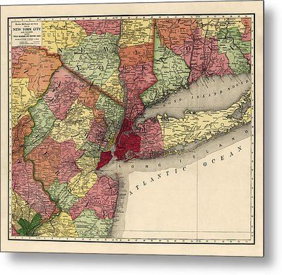 Metal Print featuring the drawing Antique Map Of The New York City Region By Rand Mcnally And Company - 1908 by Blue Monocle