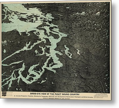 Antique Map Of The Puget Sound Washington By Charles H. Baker And Co. - 1891 Metal Print