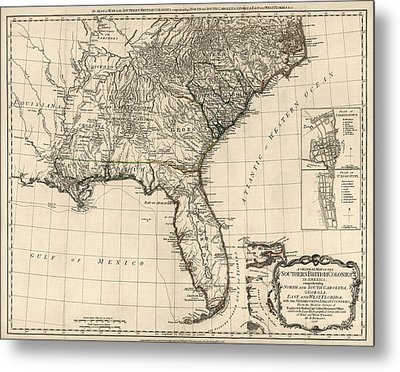 Antique Map Of The Southeastern United States By Bernard Romans - 1776 Metal Print by Blue Monocle