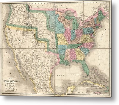 Antique Map Of The United States By David Burr - 1839 Metal Print by Blue Monocle