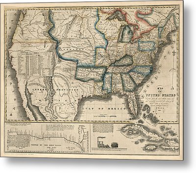 Antique Map Of The United States By M. M. Peabody - 1831 Metal Print by Blue Monocle