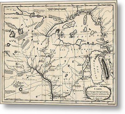 Antique Map Of The Upper Midwest Us  And Great Lakes By Benard - Circa 1768 Metal Print