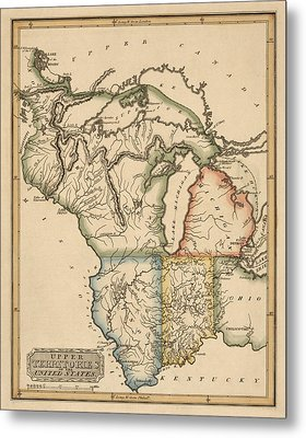 Antique Map Of The Upper Midwest Us By Fielding Lucas - Circa 1817 Metal Print