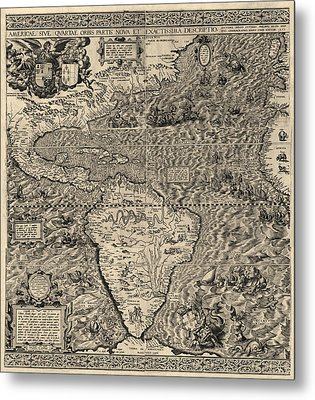 Antique Map Of The Western Hemisphere By Diego Gutierrez - 1562 Metal Print by Blue Monocle