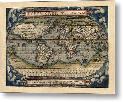 Antique Map Of The World By Abraham Ortelius - 1570 Metal Print by Blue Monocle