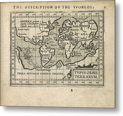 Antique Map Of The World By Abraham Ortelius - 1603 Metal Print by Blue Monocle