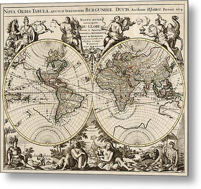 Antique Map Of The World By Alexis Hubert Jaillot - 1694 Metal Print