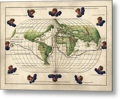 Antique Map Of The World By Battista Agnese - Circa 1544 Metal Print by Blue Monocle