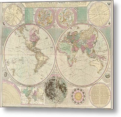 Antique Map Of The World By Carington Bowles - Circa 1780 Metal Print by Blue Monocle