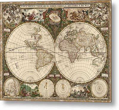 Antique Map Of The World By Frederik De Wit - 1660 Metal Print by Blue Monocle