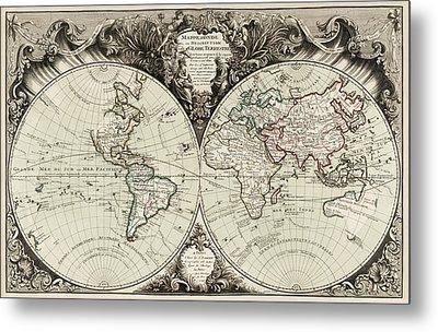 Antique Map Of The World By Gilles Robert De Vaugondy - 1743 Metal Print by Blue Monocle