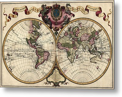 Antique Map Of The World By Guillaume Delisle - 1720 Metal Print by Blue Monocle