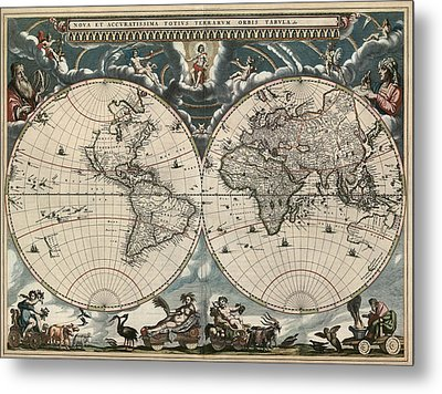 Antique Map Of The World By Joan Blaeu - 1664 Metal Print by Blue Monocle