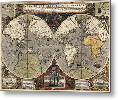Antique Map Of The World By Jodocus Hondius - Circa 1565 Metal Print by Blue Monocle