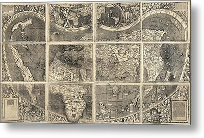 Antique Map Of The World By Martin Waldseemuller - 1507 Metal Print by Blue Monocle