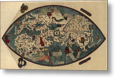 Antique Map Of The World By Paolo Del Pozzo Toscanelli - Circa 1450 Metal Print by Blue Monocle