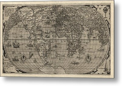 Antique Map Of The World By Paolo Forlani - 1560 Metal Print by Blue Monocle