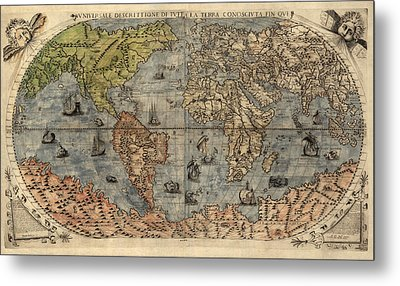 Antique Map Of The World By Paolo Forlani - 1565 Metal Print by Blue Monocle
