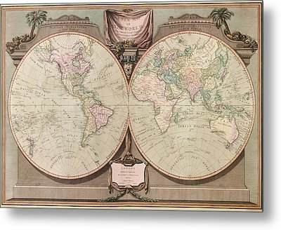 Antique Map Of The World By Robert Laurie And James Whittle - 1808 Metal Print by Blue Monocle