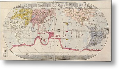 Antique Map Of The World By Sekisui Nagakubo - Circa 1785 Metal Print by Blue Monocle
