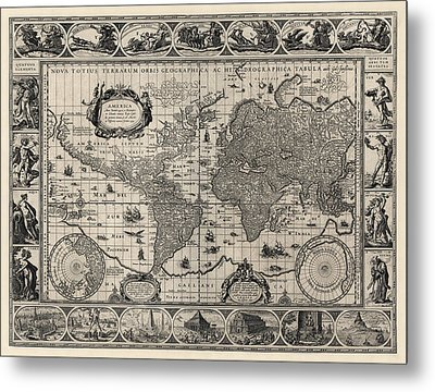 Antique Map Of The World By Willem Janszoon Blaeu - 1606 Metal Print by Blue Monocle