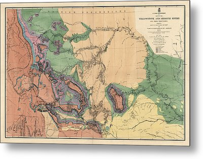 Antique Map Of The Yellowstone And Missouri Rivers By F. V. Hayden - 1869 Metal Print