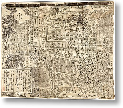 Antique Map Of Tokyo Japan - 1685 Metal Print by Blue Monocle