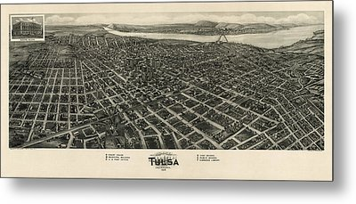 Antique Map Of Tulsa Oklahoma By Fowler And Kelly - 1918 Metal Print