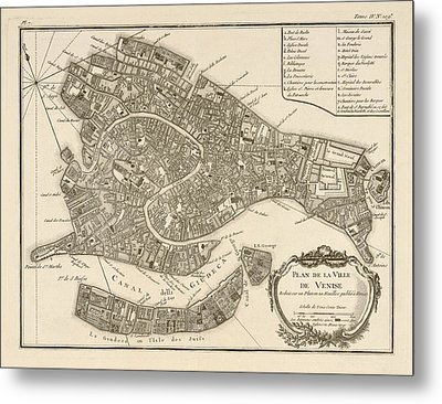 Antique Map Of Venice Italy By Jacques Nicolas Bellin - 1764 Metal Print by Blue Monocle