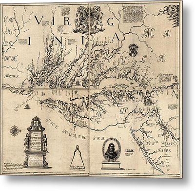 Antique Map Of Virginia And Maryland By Augustine Herrman - 1673 Metal Print