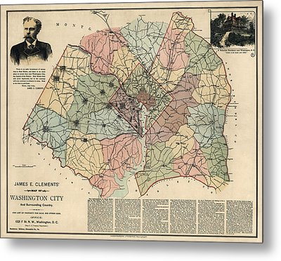 Antique Map Of Washington Dc By Andrew B. Graham - 1891 Metal Print by Blue Monocle