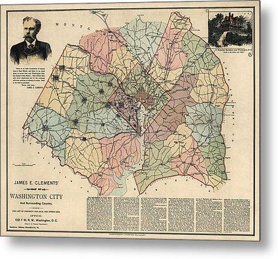 Antique Map Of Washington Dc By Andrew B. Graham - 1891 Metal Print
