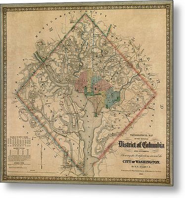 Antique Map Of Washington Dc By Colton And Co - 1862 Metal Print by Blue Monocle