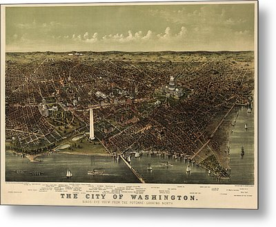Antique Map Of Washington Dc By Currier And Ives - Circa 1892 Metal Print by Blue Monocle