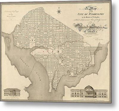 Antique Map Of Washington Dc By Robert King - 1818 Metal Print by Blue Monocle