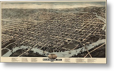 Antique Map Of Wilmington Delaware By H. H. Bailey And Co. - 1874 Metal Print