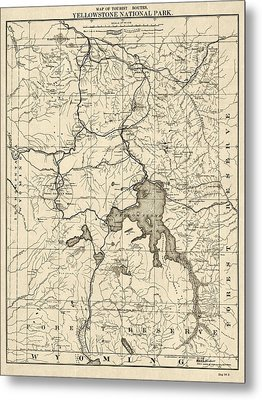 Antique Map Of Yellowstone National Park By The U. S. War Department - 1900 Metal Print by Blue Monocle