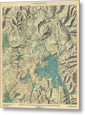 Metal Print featuring the drawing Antique Map Of Yellowstone National Park By The Usgs - 1915 by Blue Monocle