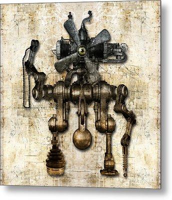 Antique Mechanical Figure Metal Print
