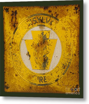 Antique Metal Pennsylvania Forest Fire Warden Sign Metal Print by John Stephens