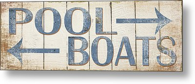 Antique Pool Boat Sign Metal Print by Grace Pullen