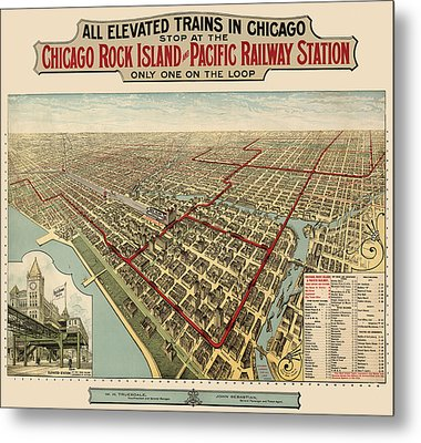 Antique Railroad Map Of Chicago - 1897 Metal Print by Blue Monocle